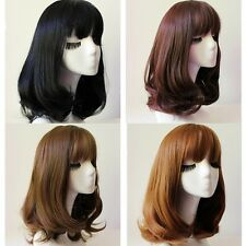 Lady Medium Long Neat Bang Full Wig Wavy Curly Brown/Black Hair Cosplay Costume