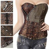 Women Sexy Boned Zipper Steampunk Corset Bustier Top Lingerie Body Waist Shaper