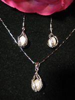 Schmuckset Süßwasserperlen Perlen Schmuck 925 Silber Halskette Ohrringe weiß
