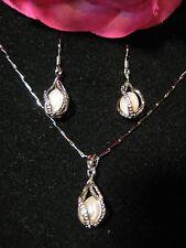 SET GIOIELLI perle di acqua dolce ARGENTO 925 Collana Orecchini ad anello