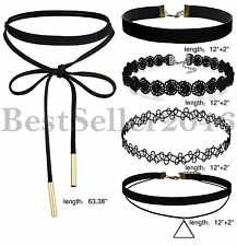 5pcs/set Womens Black Velvet Choker Necklace Lace Choker Tattoo Chain Necklace