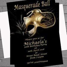 Masquerade Invitations Birthday Party Black Gold Masked Ball x 12 + envs H1674
