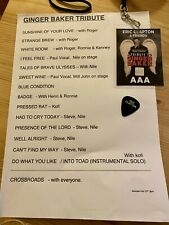 More details for tribute to ginger baker aaa backstage pass, original set list, eric clapton pick