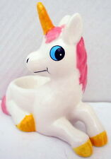 GLOSSY POLYRESIN PINK & WHITE UNICORN EGG CUP! BRAND NEW! GREAT FOR COLLECTORS!