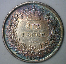 1835 UK Silver 6 Pence Sixpence Great Britain UK Tanner Coin XF Beautiful Toning