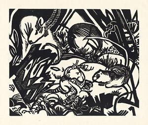 """Franz Marc original woodcut  """"Aus der Tierlegende"""" 1919"""