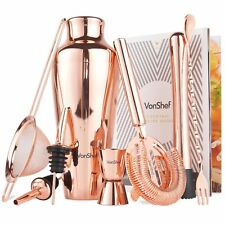 VonShef Copper Cocktail Shaker Set 9pc Stainless Steel Mixer Bartender and Book