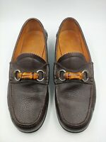 Gucci Mens Slip On Bamboo Horsebit Chocolate Brown Loafers Shoes Size 9 10 US