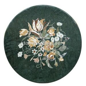 """30"""" Green Marble Coffee Table Top Inlay Mosaic Floral Handmade Deco Art H478"""
