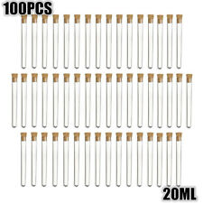 100X 20ml Clear Plastic Test Tubes With Cork Stopper Volume Candy Party Wedding