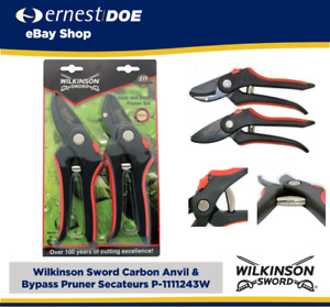 Wilkinson Sword Carbon Anvil & Bypass Pruner Secateurs - Twin Pack  P-1111243W