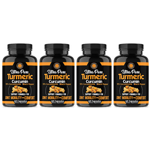 Angry Supplements Pure Turmeric Anti Inflammatory w. Black Pepper Pills, 4 Pack