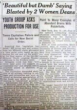 1935 display newspaper DUMB BLONDE WOMAN MYTH is debunked by College Professors
