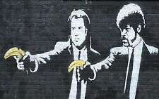 "Banksy, Pulp Fiction Bananas, 10""x16"", Graffiti Art, Giclee Canvas Print"