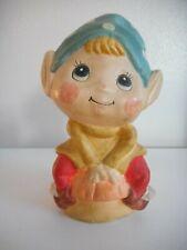 Vintage Chalkware or ceramic Elf Bank Carnivalware