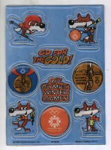 RARE Sheet 9 Sarajevo Yugoslavia XIV Olympic Winter Games Puffy Stickers! Vucko