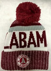 ALABAMA!!   Burgundy and White  Landmark Patch  Pom Pom Knit Beanie Hat