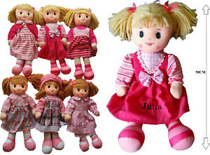 """Personalised embroidered 50cm  20"""" rag doll- gift, any name, kids, soft, cuddly"""