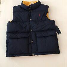 Boys Polo Ralph Lauren Blue With Yellow Inside Puffy Vest Size Medium (10-12)