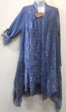 Nwt SACRED THREADS viscose/cotton cornflower blue lace ruffle vest TUNIC TOP XL