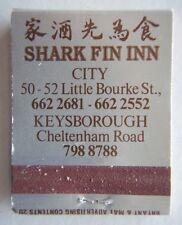 SHARK FIN INN CITY 6622681 KEYSBOROUGH 7988788 SILVER BLK RED MATCHBOOK