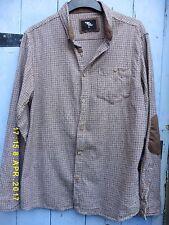 """Camisa cuadros marrón de hombre de algodón peinado suave 42"""" 17"""" Collar Primark Excelente Con"""