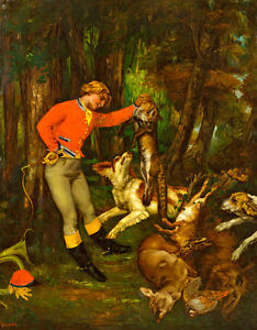 After the Hunt by Gustave Courbet 60cm x 47cm Canvas Print