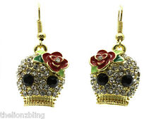 Gothic Day of the Dead Gold Skull Earrings with Crystal Bling