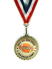 Football Medal- Team Award- Minimum Order 6- Custom Wording- Free Neck Ribbon