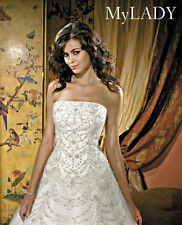 ALLURE COUTURE WEDDING GOWN BRIDAL BRIDE DRESS IVORY SWAROVSKI CRYSTALS 10 NEW
