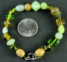 NWOT Green and Tan Glass Beaded Bracelet with Toggle Clasp