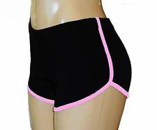 Black Retro Shorts with Baby Pink Trim - Medium