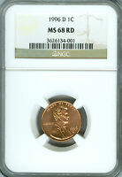 1996-D LINCOLN CENT NGC MS68 RED FINEST REGISTRY  RARE *