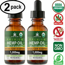 Natural Hemp Oil Drops for Pain Relief, Stress, Anxiety, Sleep (2 PACK)
