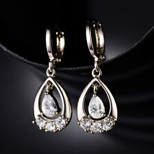 HUCHE Retro Yellow Gold Filled Dangle Drop Diamond Crystal Women Party Earrings