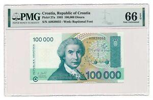 CROATIA banknote 100.000 Dinara 1993 PMG MS 66 EPQ Gem Uncirculated
