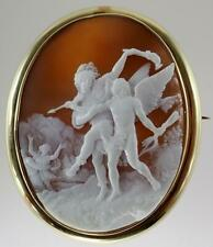 Incredible Victorian Museum Quality Bacchus Cupid Shell Cameo Brooch Gold Frame