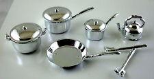 Dolls House Miniature 1:12 Scale Kitchen Accessory Chrome Saucepan Pan Set