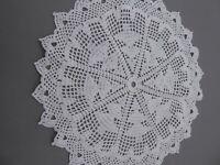 Häkeldecke Handarbeit in Weiß 100% Baumwolle Weihnachten Tannenbaum