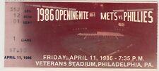 PHILADELPHIA PHILLIES VS NEW YORK METS TICKET OPENING NITE APRIL 11, 1986