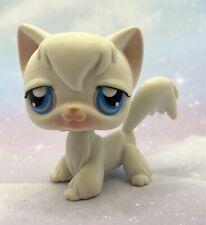 Littlest Pet Shop Authentic # 9 Snow White Angora Long Haired Cat Blue Eyes