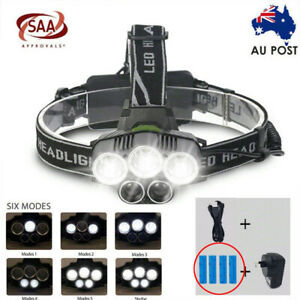 90000LM Headlamp 5 CREE LED Headlight XM-L T6 Q5 Rechargeable Battery