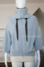 BRUNELLO CUCINELLI Baby blue  CASHMERE HOODED SWEATER Top Sz S