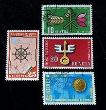 1954 Switzerland Stamp Set 347 348 349 & 350 Used! VF Rhine Navagation, FIFA!