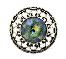 Vintage style peacock eye feather resin ring, UK Size N