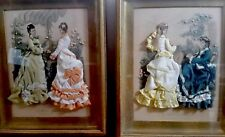 Rare Pair Antique La Mode Illustree Fabric Embellished Shadowbox Pictures French