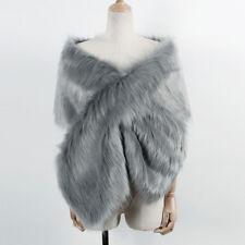Womens Faux Fur Winter Warm Shawl Shrug Wedding Wrap Cape Evening Winter Coat UK