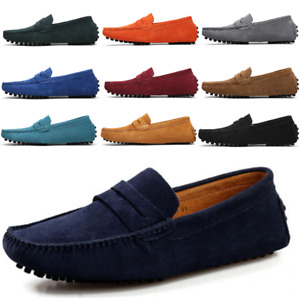 Fashion Mens Casual Suede Leather Slip On Flats Loafers Moccasins Driving Shoes