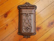 Small Cast Iron French Provincial Letterbox Mailbox Card Notes box Rustic Brown