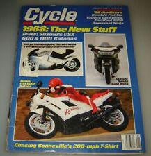 Cycle Magazine January 1988 - Suzuki GSX600F, GSX1100F  Katana, 1988 New Stuff..